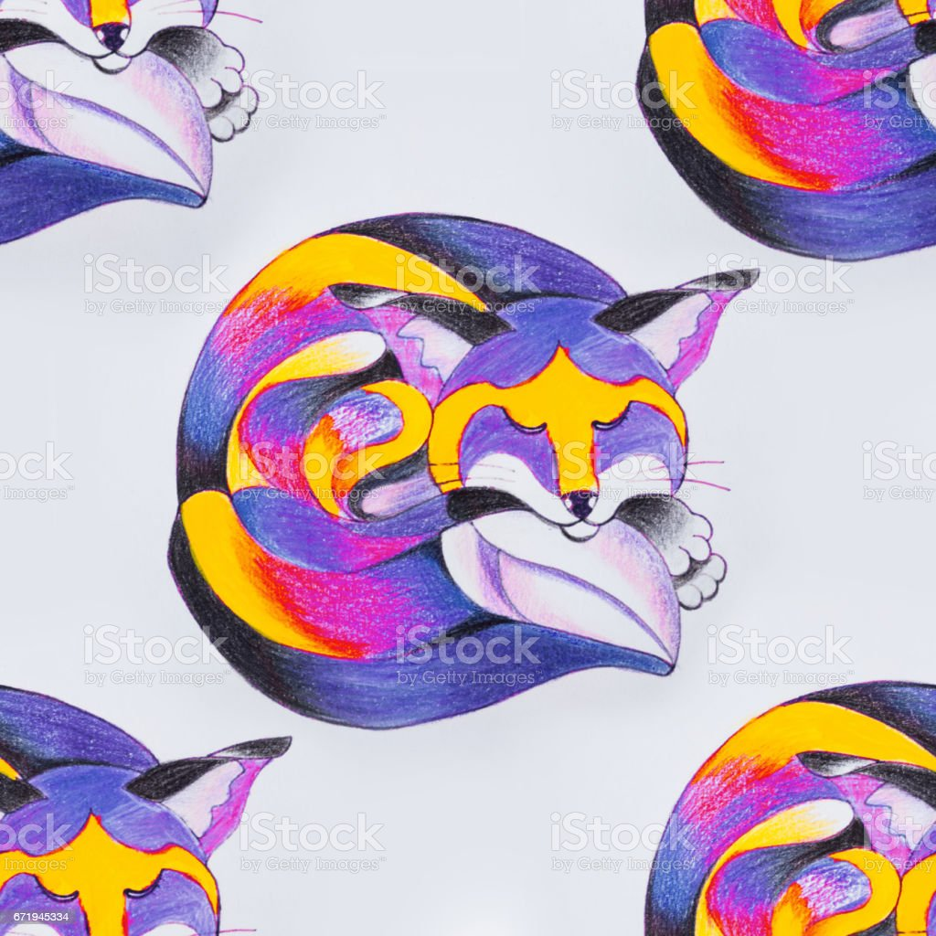 Seamless pattern of a beautiful sleeping fox on a white background. vector art illustration