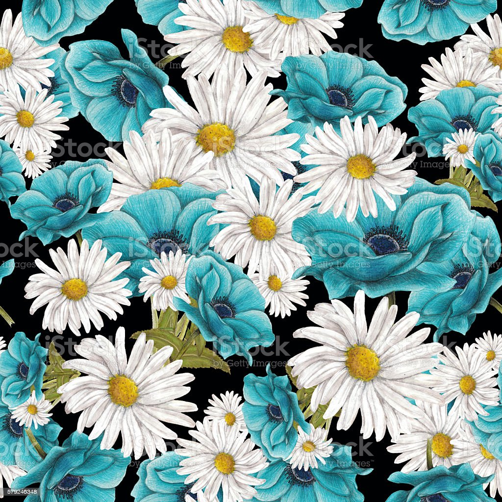 Seamless pattern of blue and white flowers vector art illustration