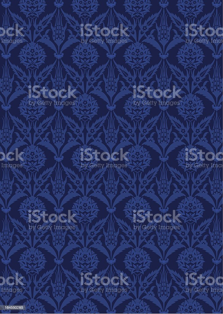 seamless pattern of blue flowers vector art illustration