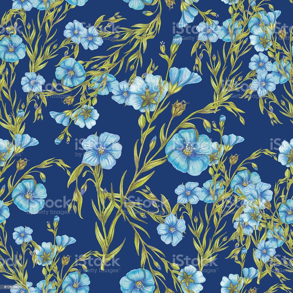 Seamless pattern of flax flowers vector art illustration