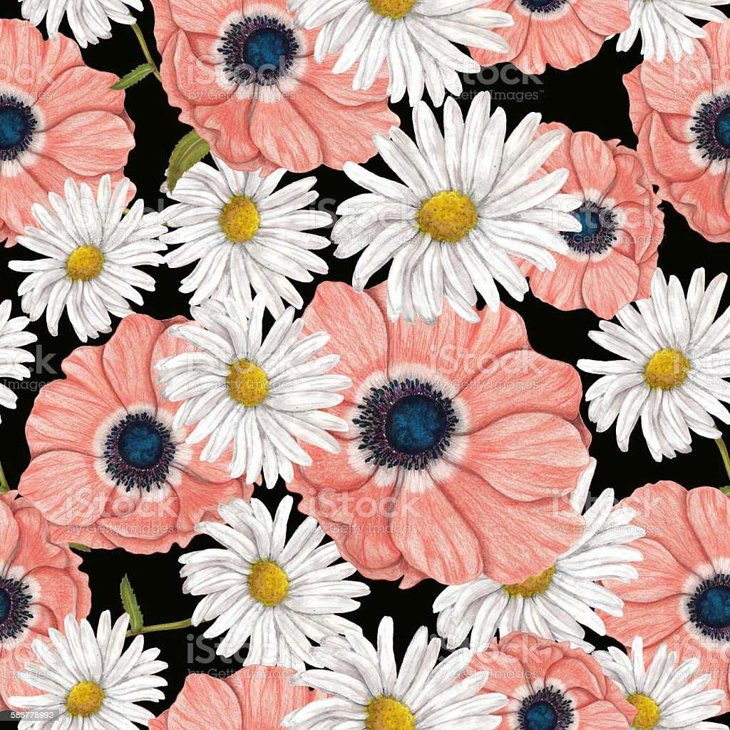 Seamless pattern of hand drawn anemones with chamomile vector art illustration