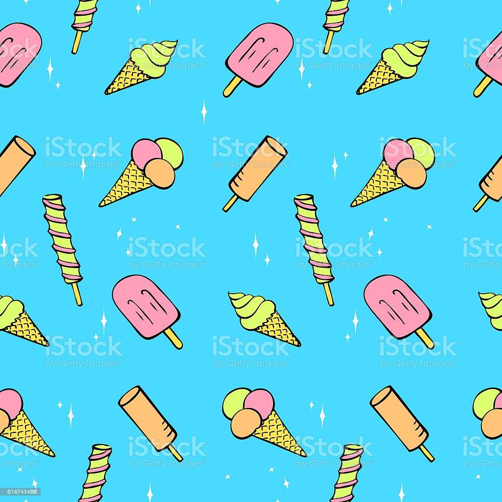 Seamless pattern of pretty ice cream vector art illustration