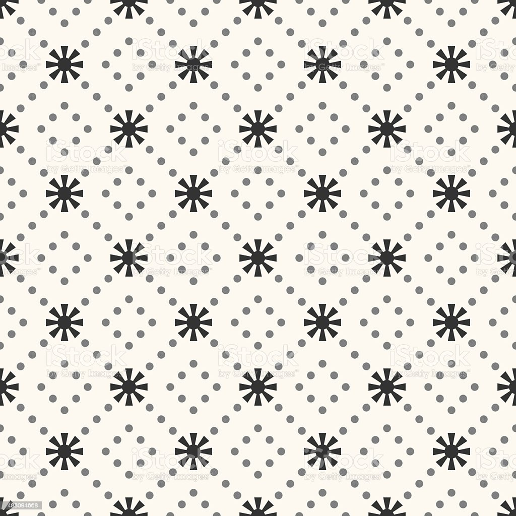Seamless  pattern of sun shape and dot vector art illustration