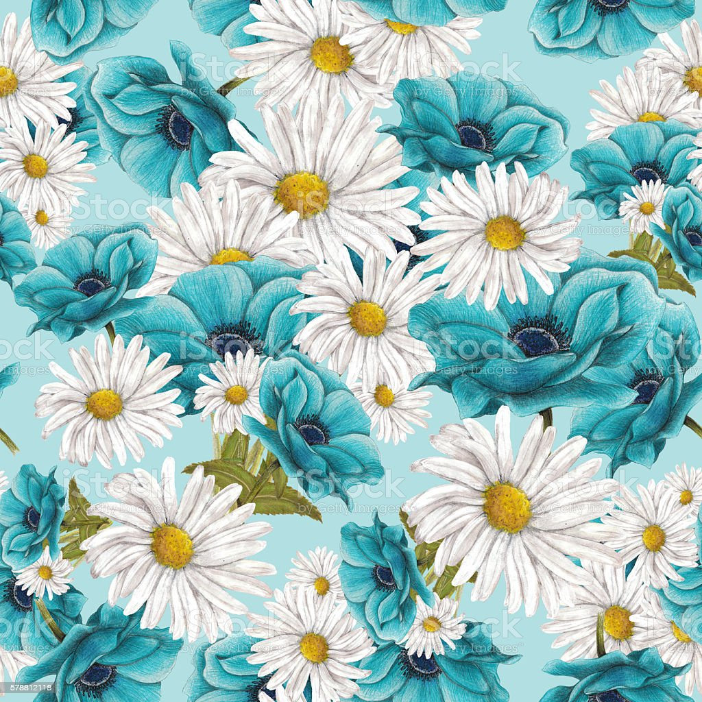 Seamless pattern on blue background vector art illustration