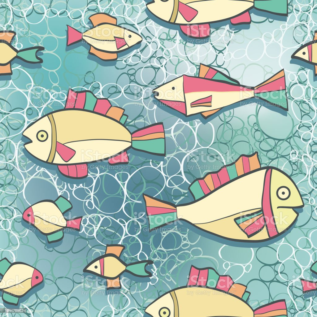 Seamless pattern wish funny fishes royalty-free stock vector art