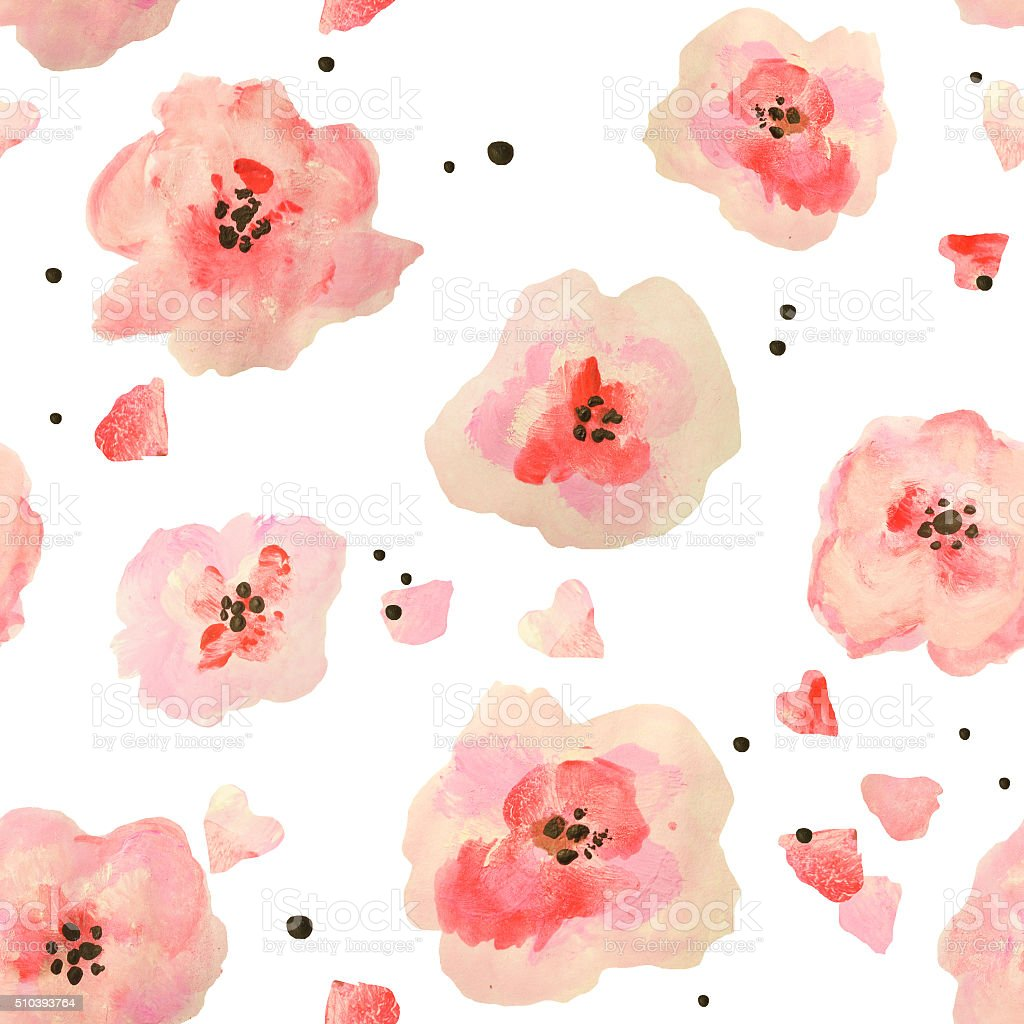 Seamless pattern with beautiful watercolor flowers on white background vector art illustration