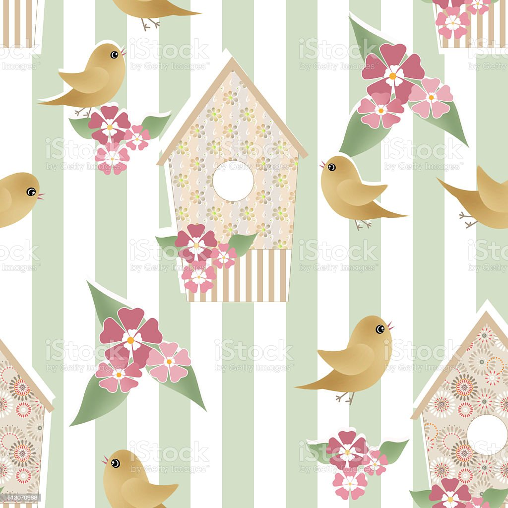 Seamless pattern with birdhouses and birds on striped vector art illustration