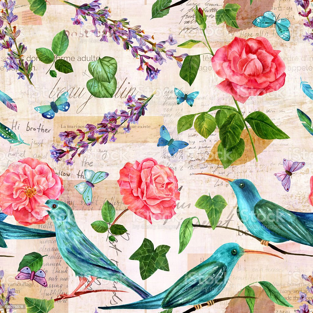 Seamless pattern with birds and flowers on old ephemera vector art illustration