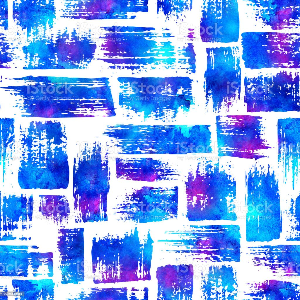 seamless pattern with brush stripes and strokes. Blue pink watercolor color on white background. Hand painted grange texture. Ink geometric elements. Fashion modern style. Endless fabric print. vector art illustration