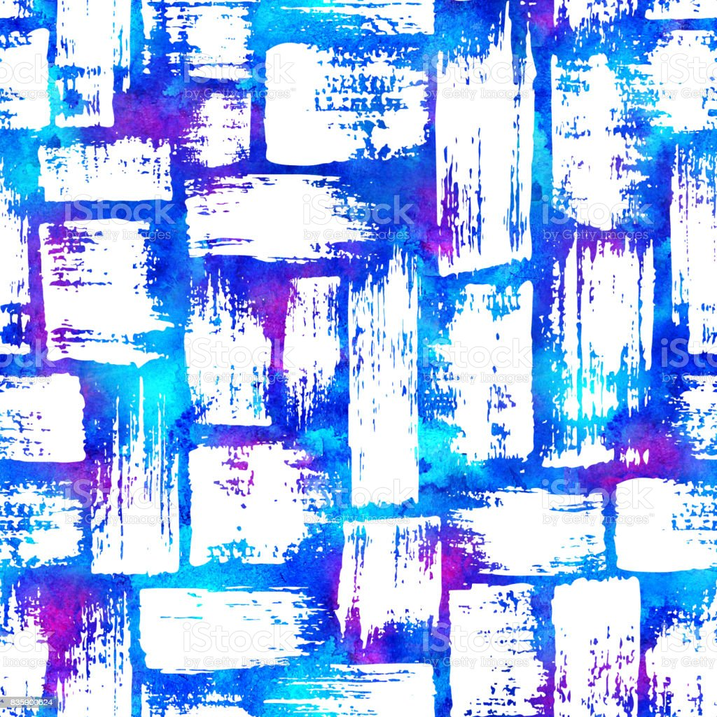 seamless pattern with brush stripes and strokes White color on blue pink watercolor background. Hand painted grange texture. Ink geometric elements. Fashion modern style. Endless fabric print. vector art illustration