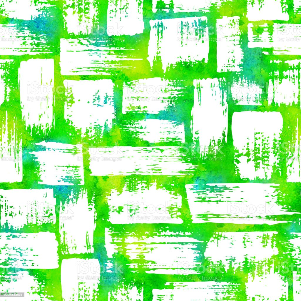 seamless pattern with brush stripes and strokes White color on yellow green watercolor background. Hand painted grange texture. Ink geometric elements. Fashion modern style. Endless fabric print. vector art illustration