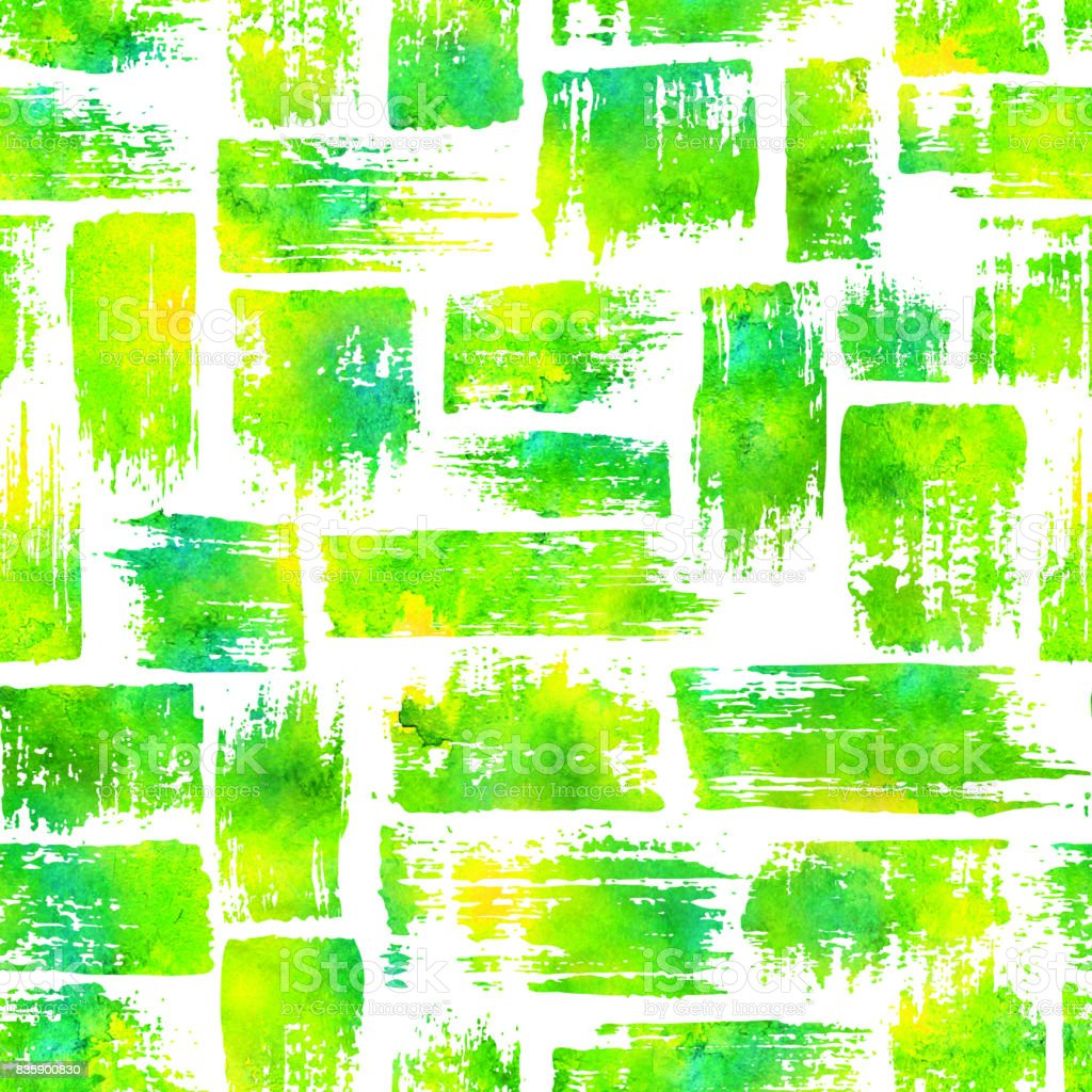seamless pattern with brush stripes and strokes. Yellow green watercolor color on white background. Hand painted grange texture. Ink geometric elements. Fashion modern style. Endless fabric print. vector art illustration
