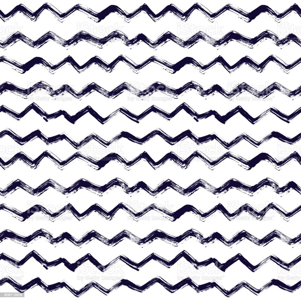 seamless pattern with brush stripes and waves. Black color on white background. Hand painted grange texture. Ink geometric elements. Fashion modern style. Endless fabric print Retro. Teen and school vector art illustration