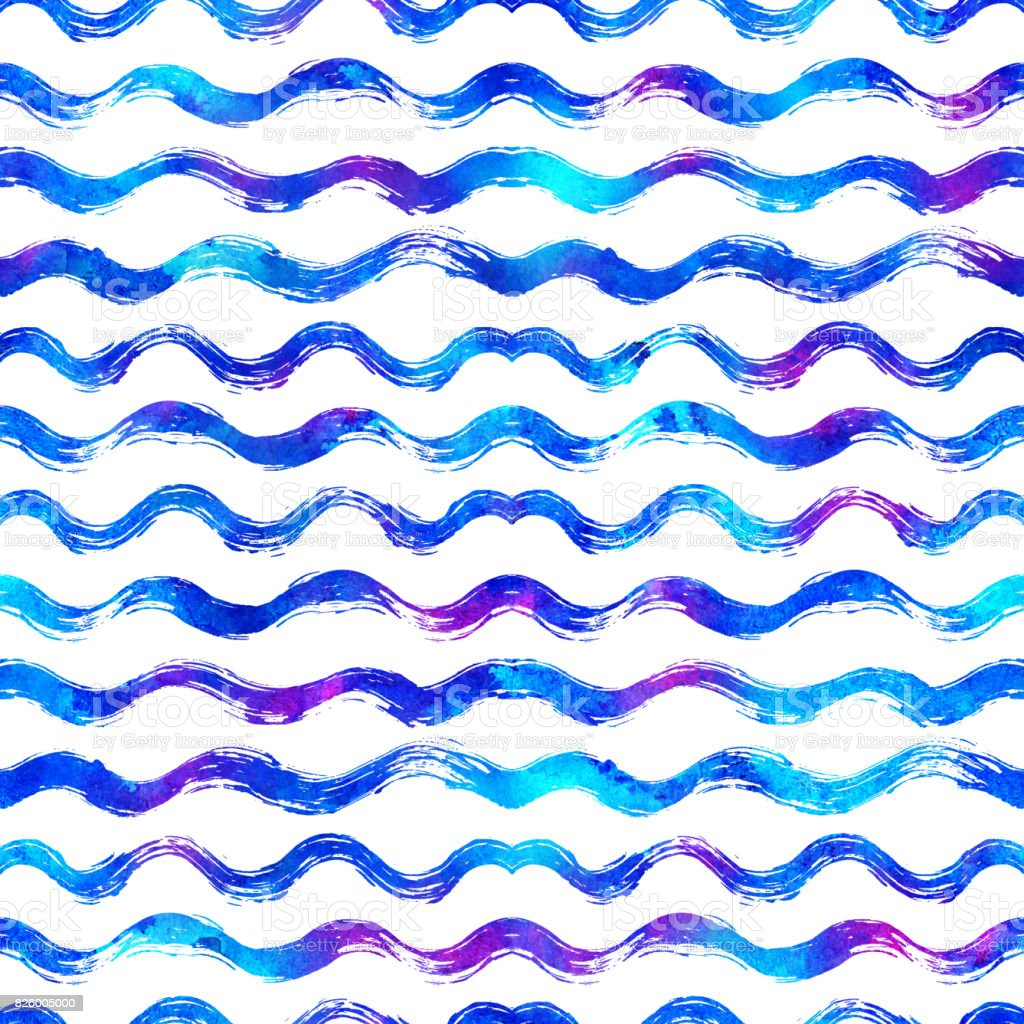 seamless pattern with brush stripes and waves. Blue color on white background. Hand painted grange texture. Ink geometric elements. Fashion modern style. Endless fabric print Retro. Teen and school vector art illustration