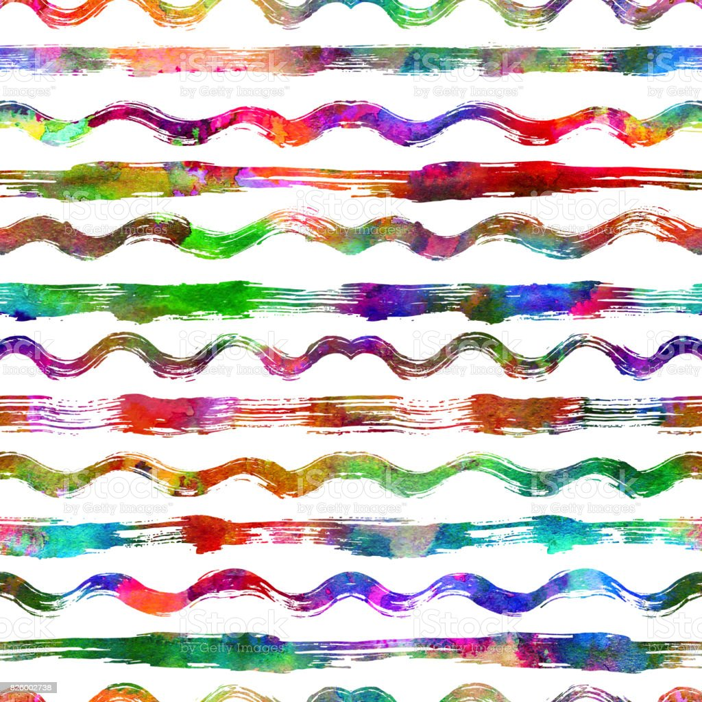seamless pattern with brush stripes and waves. Rainbow color on white background. Hand painted grange texture. Ink geometric elements. Fashion modern style. Endless fabric print Retro. Teen and school vector art illustration