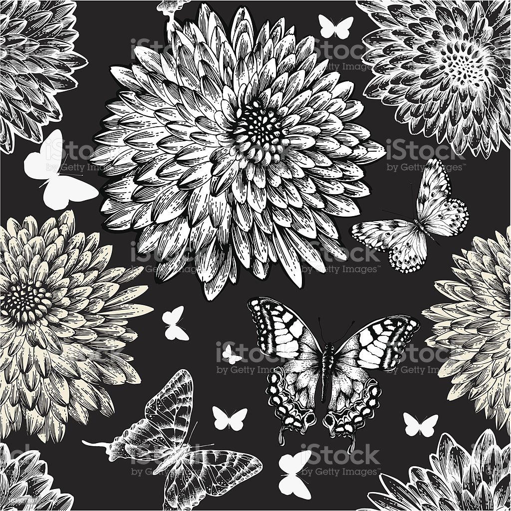 Seamless pattern with chrysanthemums and butterflies, hand drawing. Vector illustration. royalty-free stock vector art