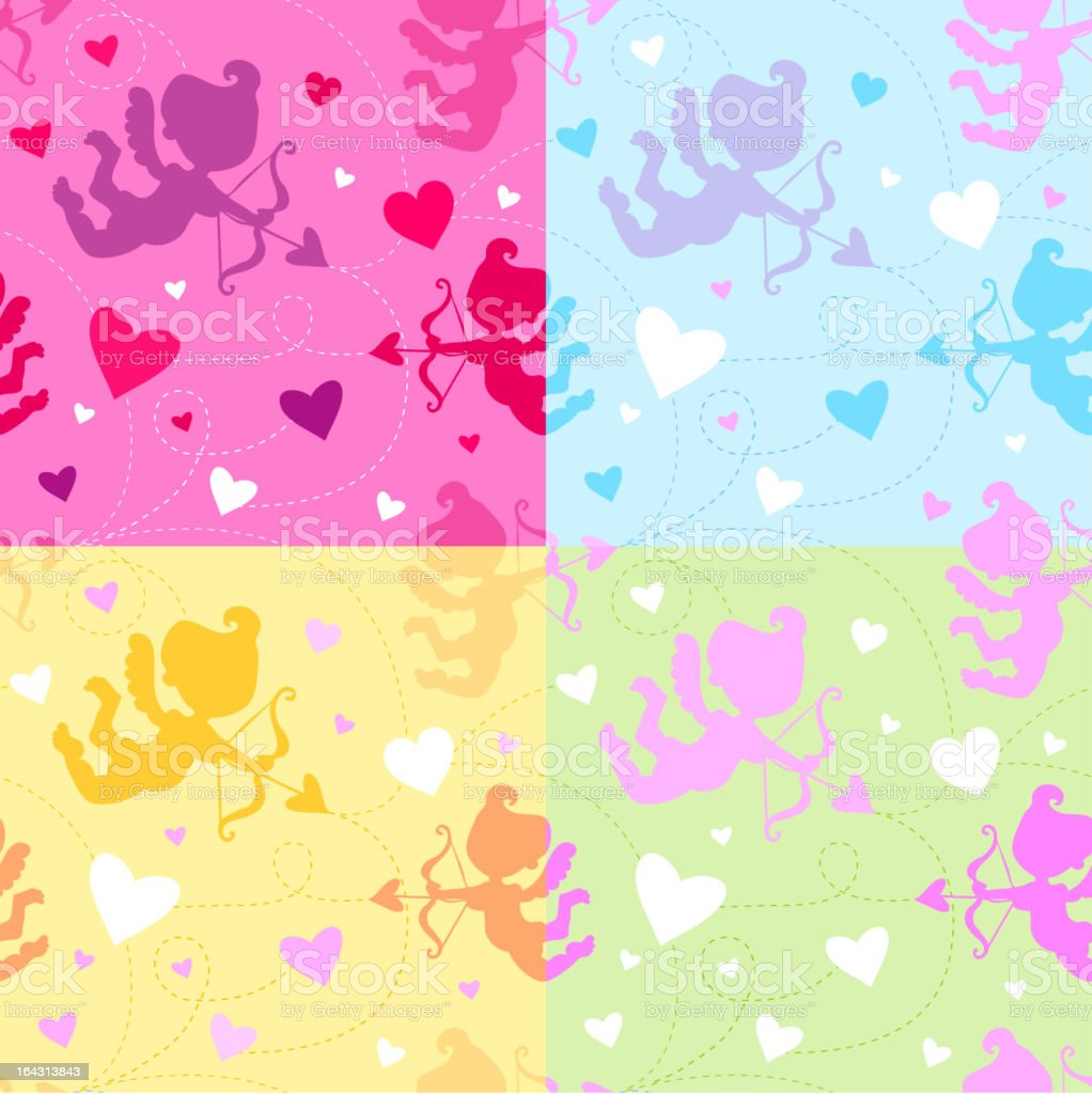 Seamless pattern with cupid and hearts. royalty-free stock vector art