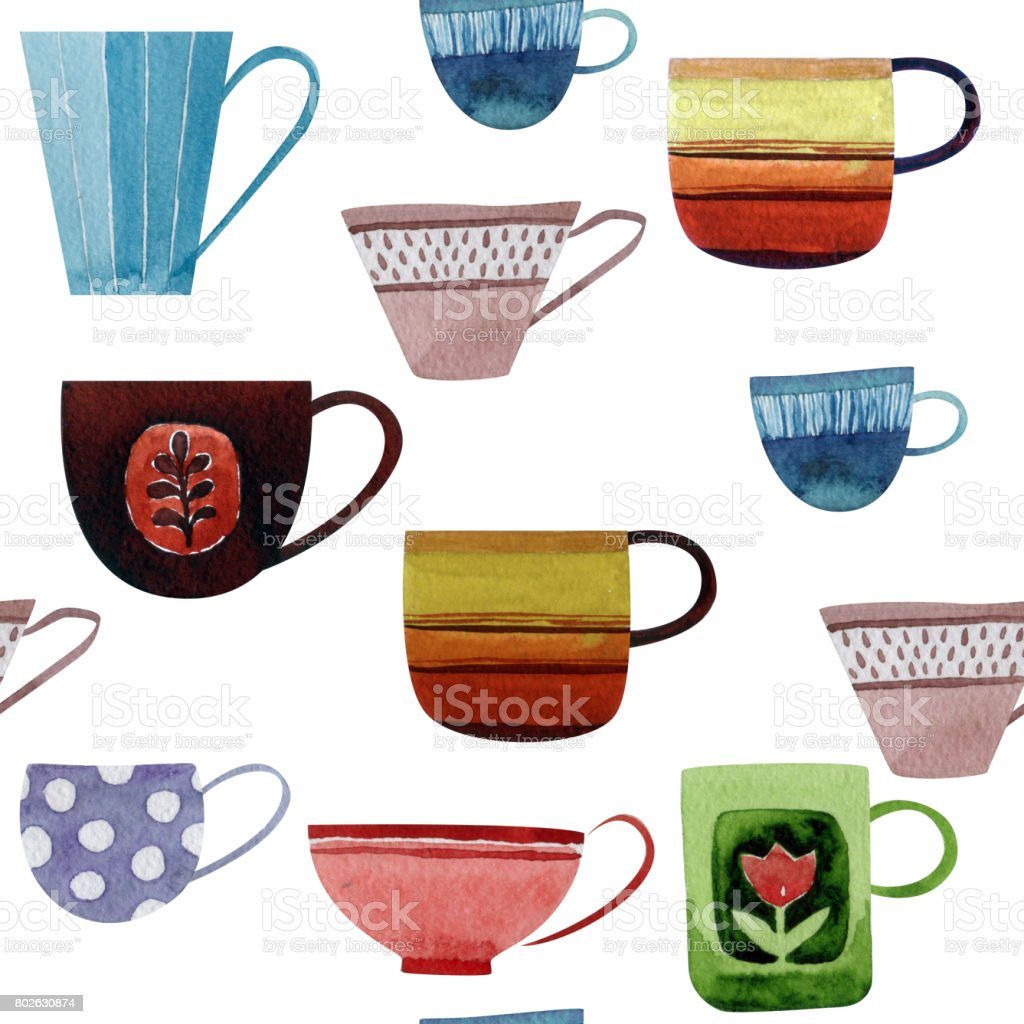 Seamless pattern with cups. vector art illustration