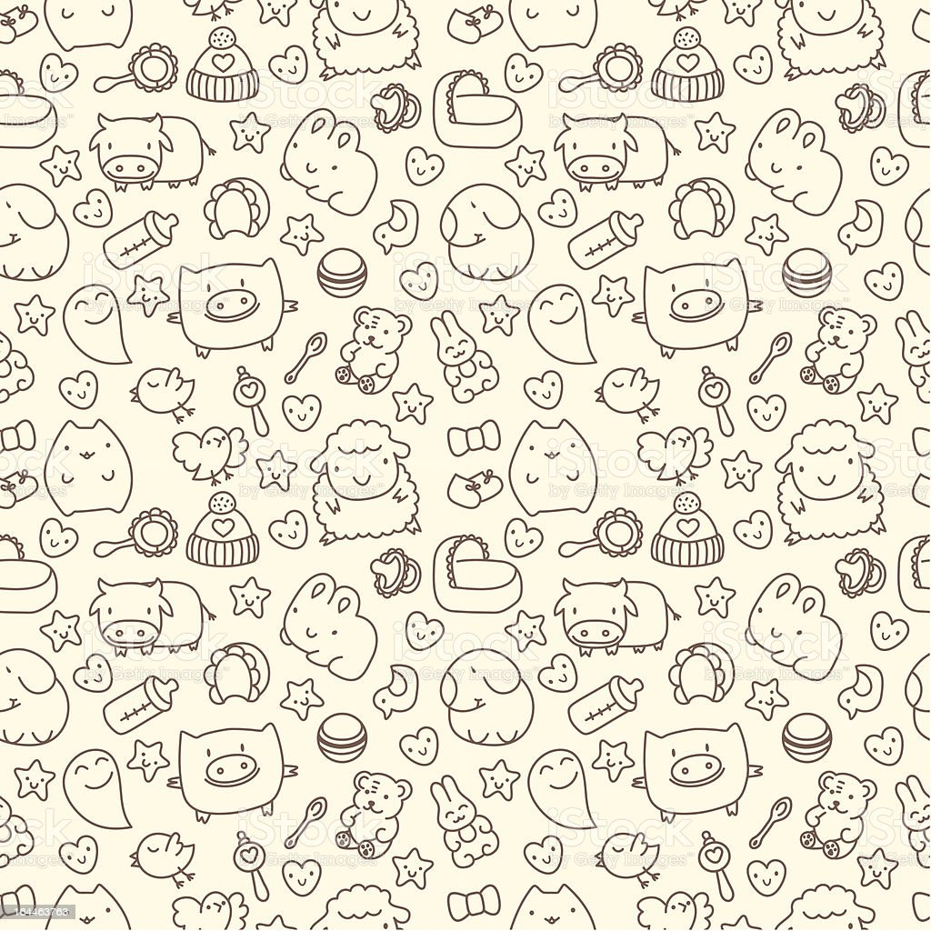 seamless pattern with cute cartoon animals royalty-free stock vector art