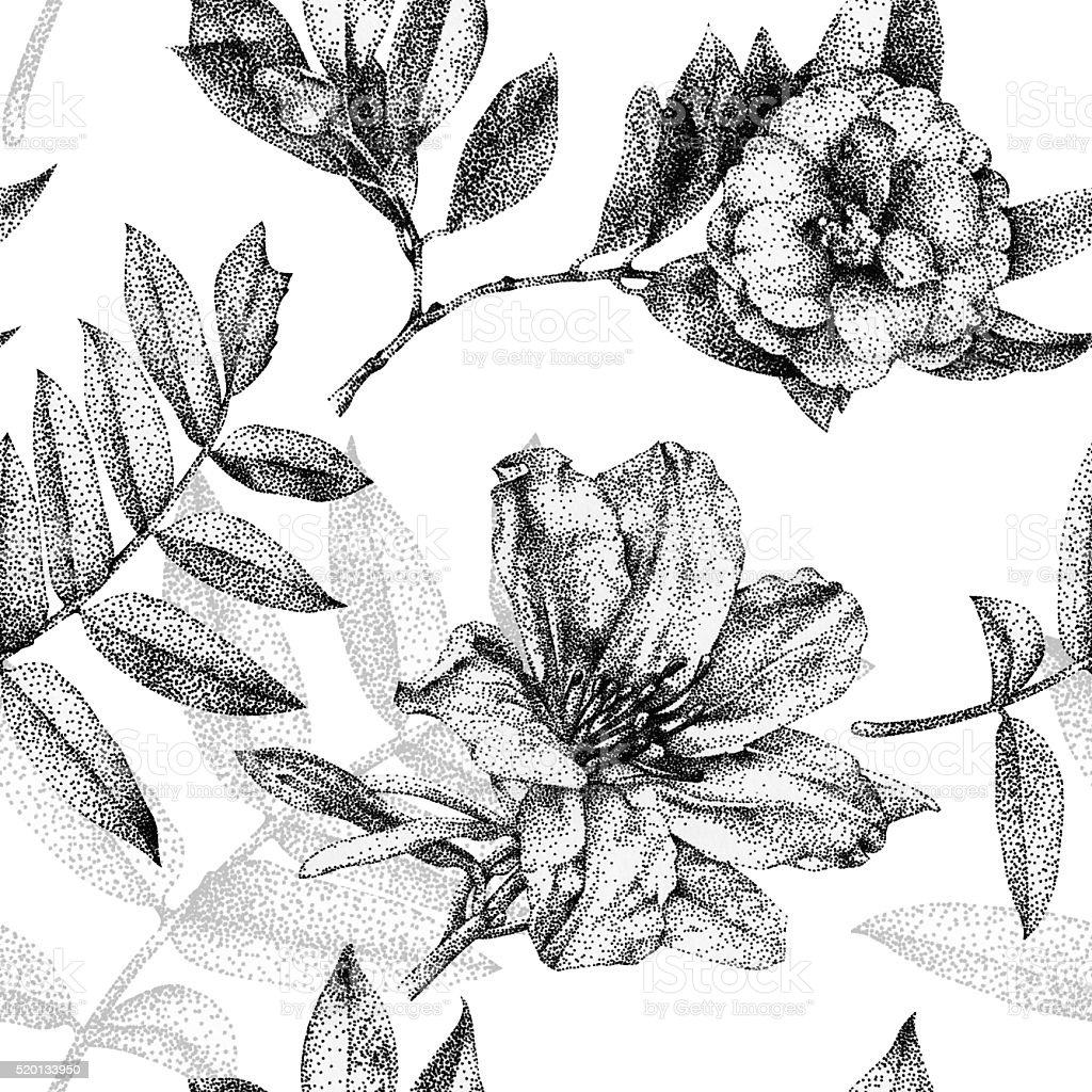 Seamless pattern with different flowers and plants drawn by hand vector art illustration