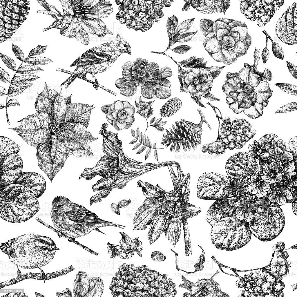 Seamless pattern with different flowers, birds and plants vector art illustration