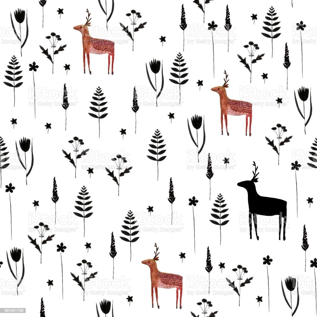 Seamless pattern with Elk and forest flowers. vector art illustration