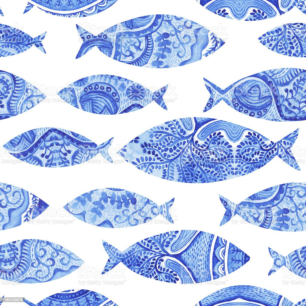 seamless pattern with fishes, watercolor hand painted background royalty-free stock vector art