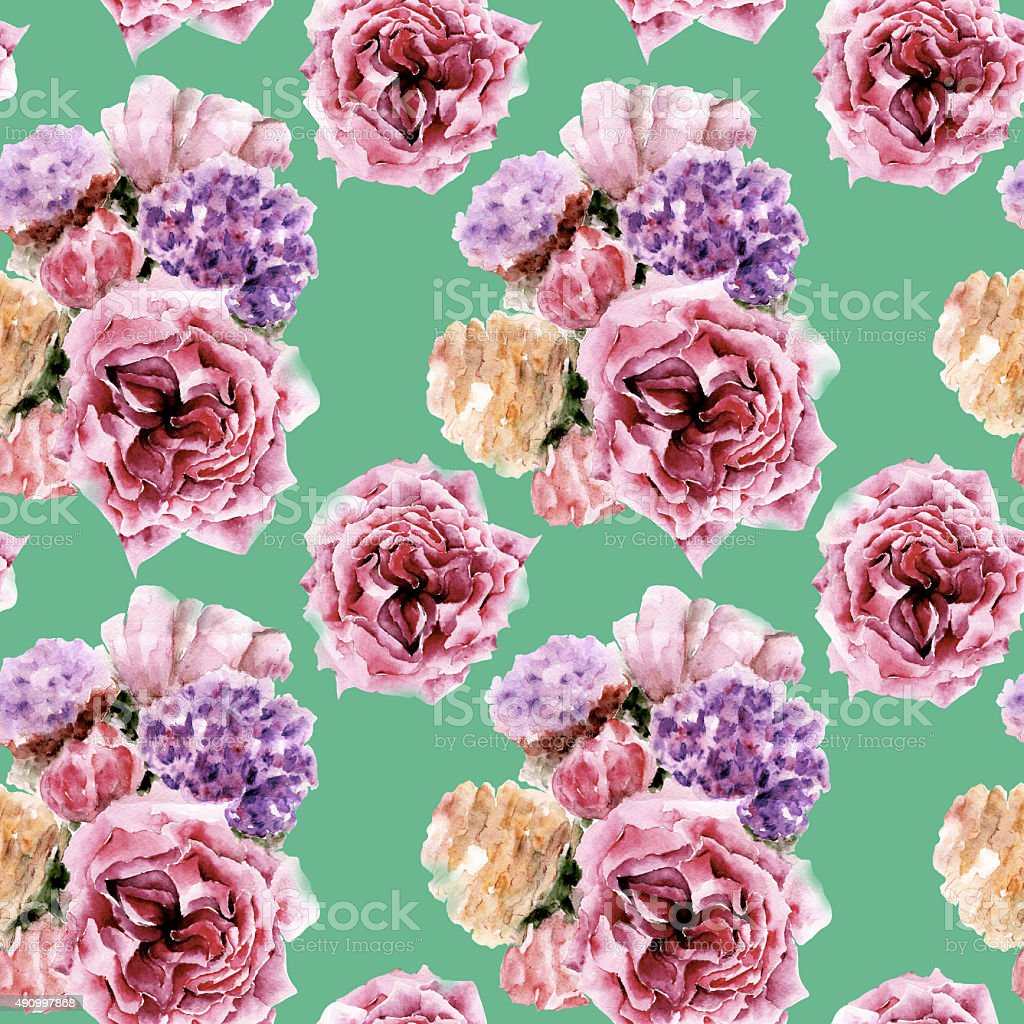 Seamless pattern with flowers. Watercolor illustration. vector art illustration