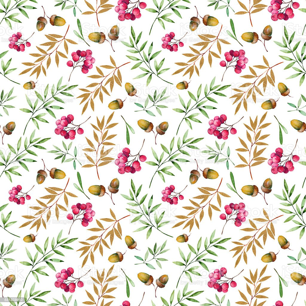 Seamless pattern with foliage, golden leaves, berries and acorns vector art illustration