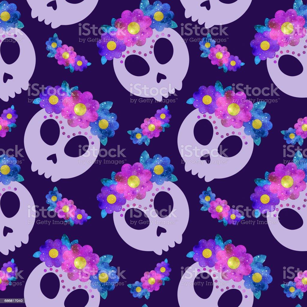 Seamless pattern with Frida skull with flowers stock photo