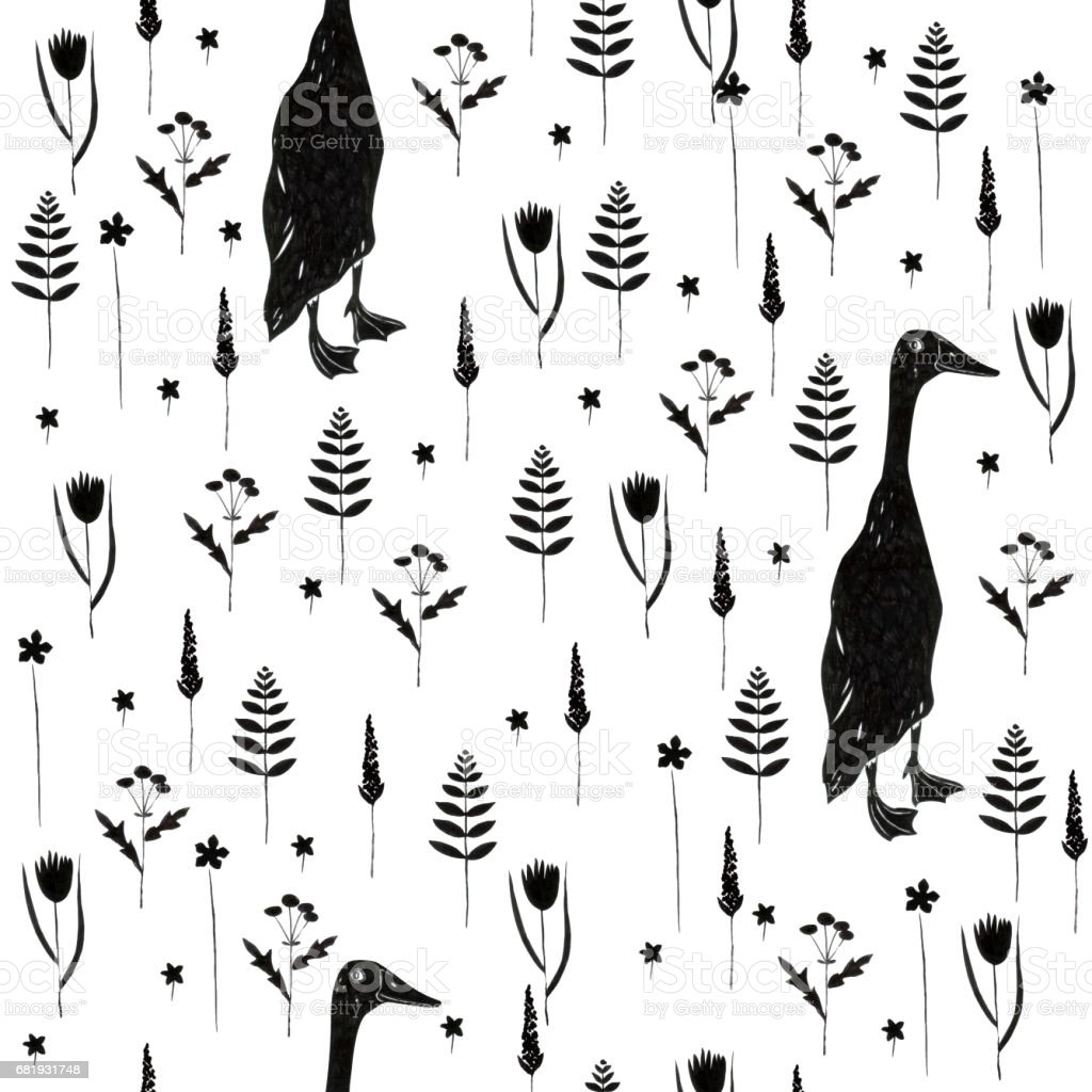 Seamless pattern with goose, flowers and floral elements. vector art illustration