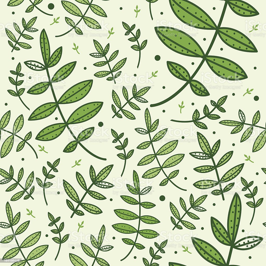 Seamless pattern with green leaves royalty-free stock vector art