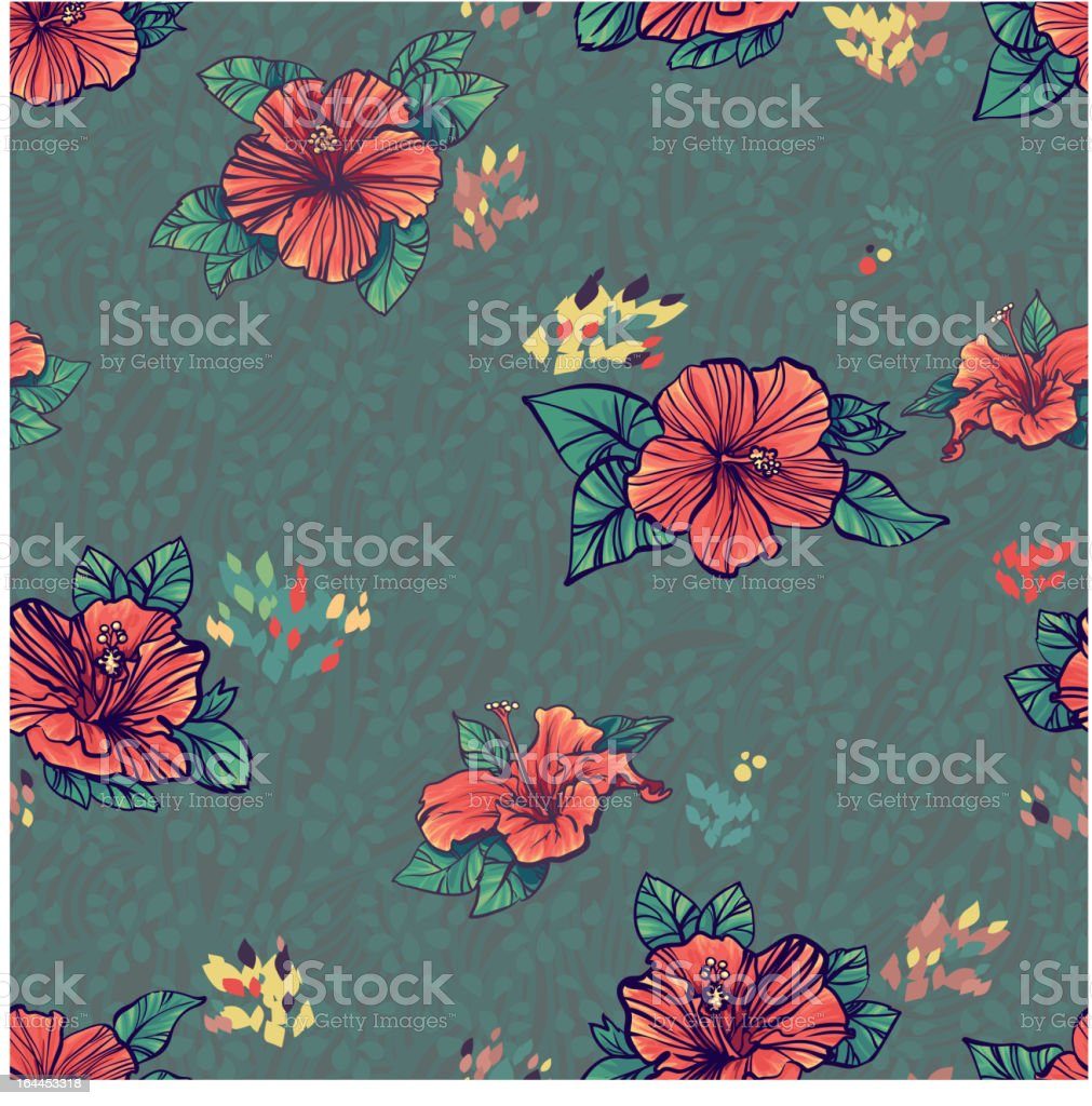 Seamless pattern with green red hibiscus flowers royalty-free stock vector art