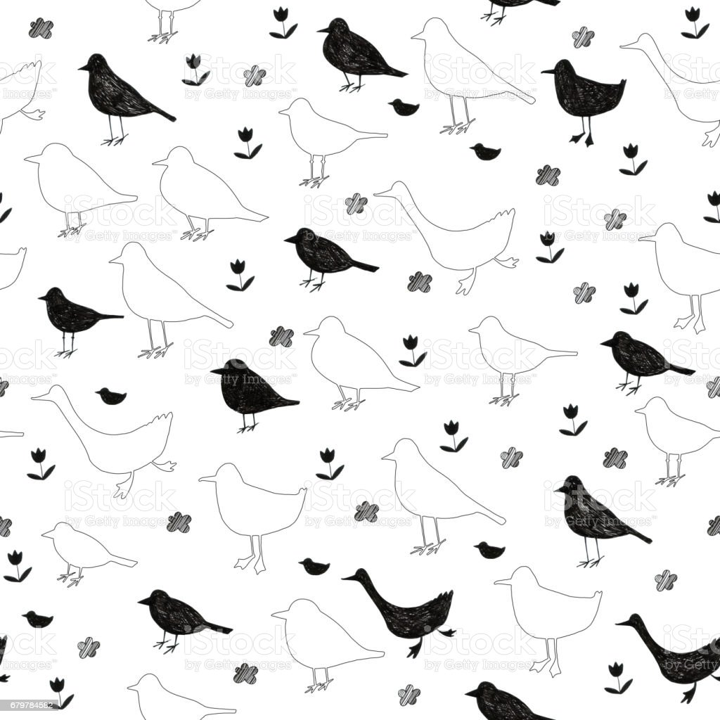 Seamless pattern with hand drawn birds and some floral elements. Silhouettes. vector art illustration