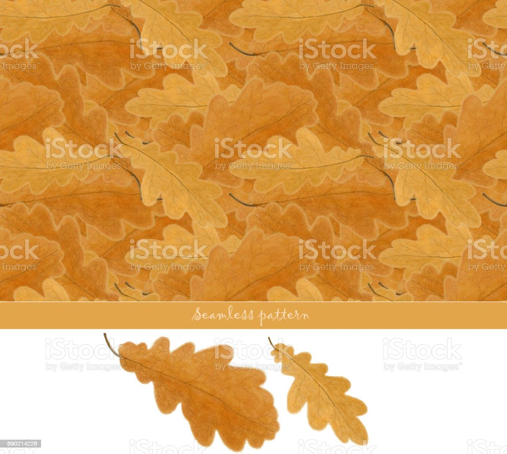 Seamless pattern with hand drawn oak leaves vector art illustration