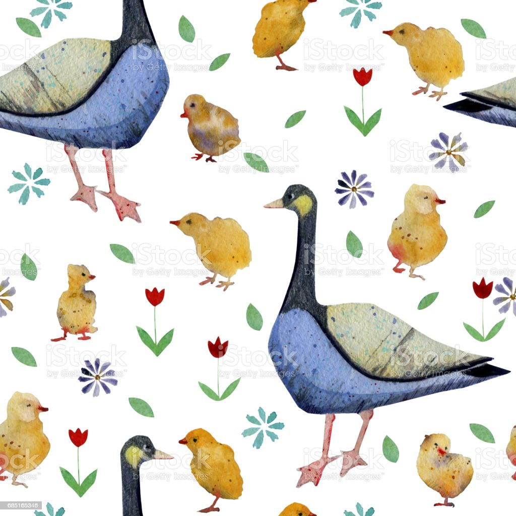 Seamless pattern with hand drawn watercolor Duck and ducklings and flowers. vector art illustration