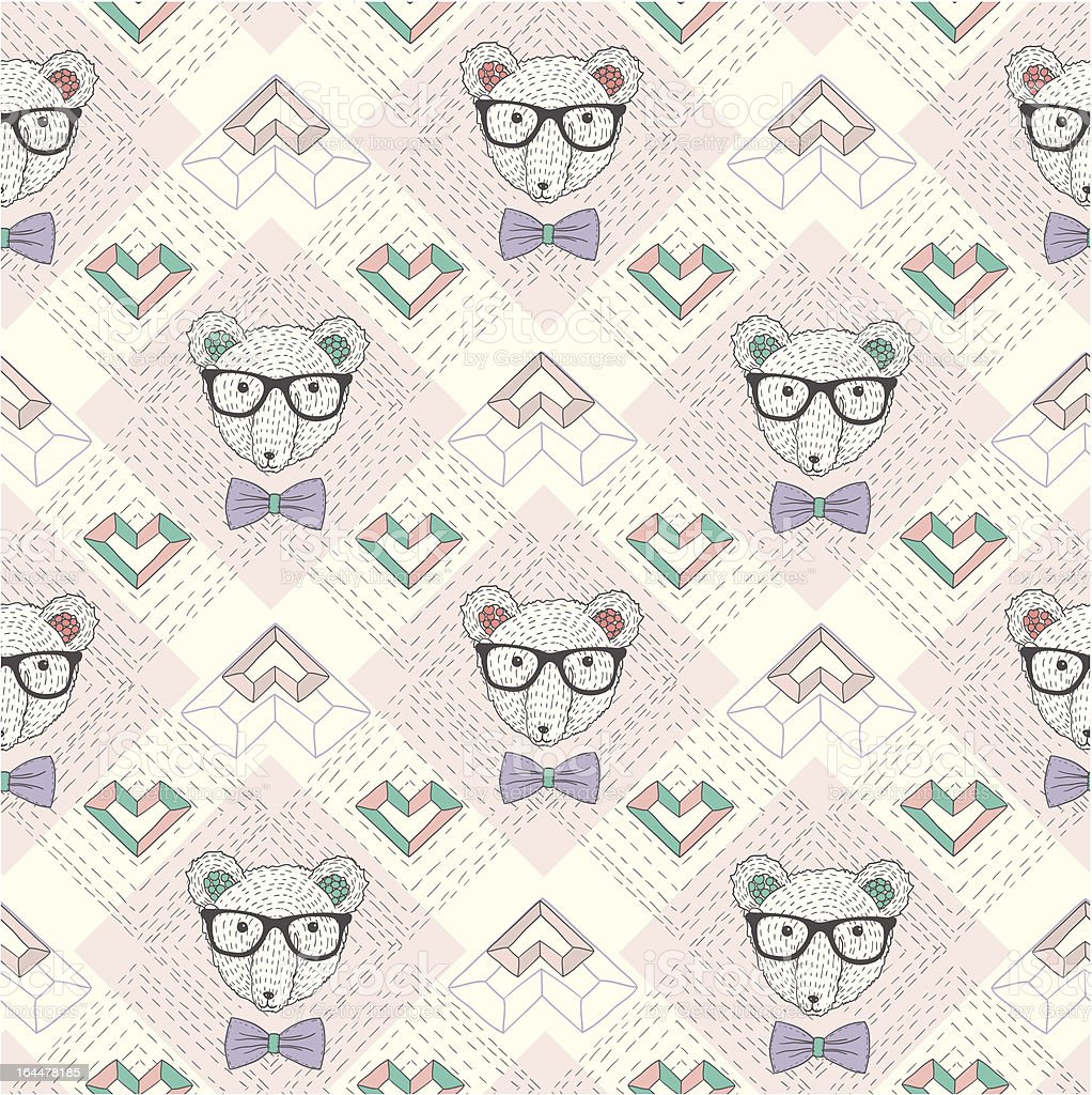 Seamless pattern with hipster polar bear and hearts royalty-free stock vector art