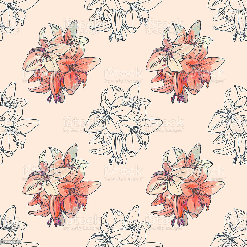 Seamless pattern with  lilies vector art illustration