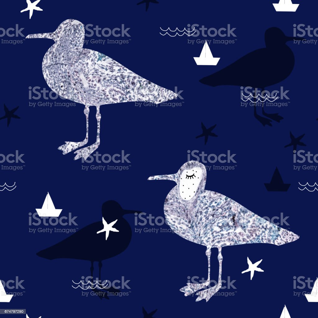 Seamless pattern with marble textured seagull and hand drawn marine elements. vector art illustration