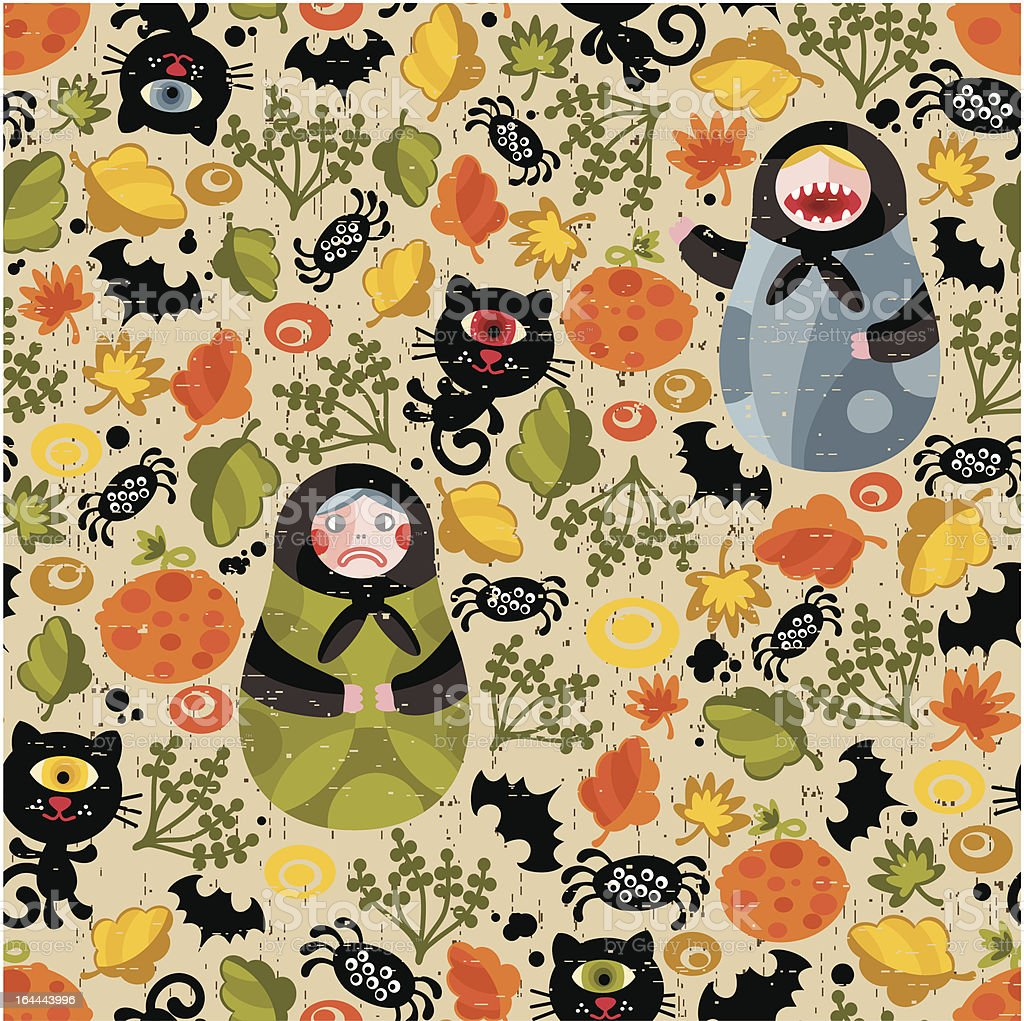 Seamless pattern with matreshka for Halloween. royalty-free stock vector art