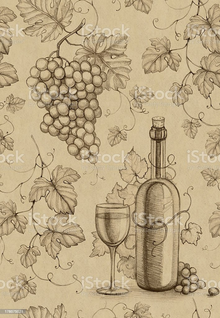 Seamless pattern with pencil drawing of wine bottle and grape royalty-free stock vector art