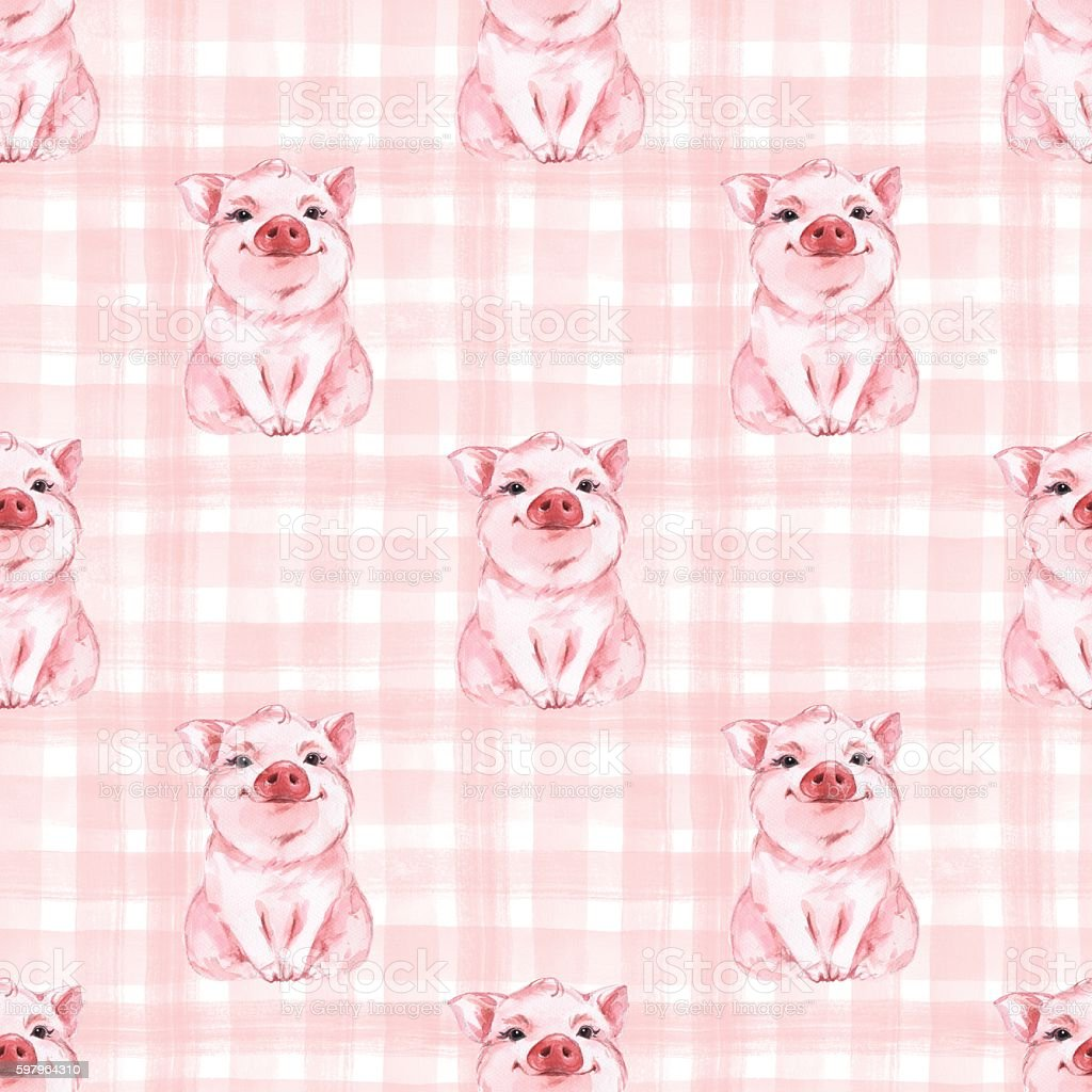 Seamless pattern with pig. Checkered background. Plaid vector art illustration