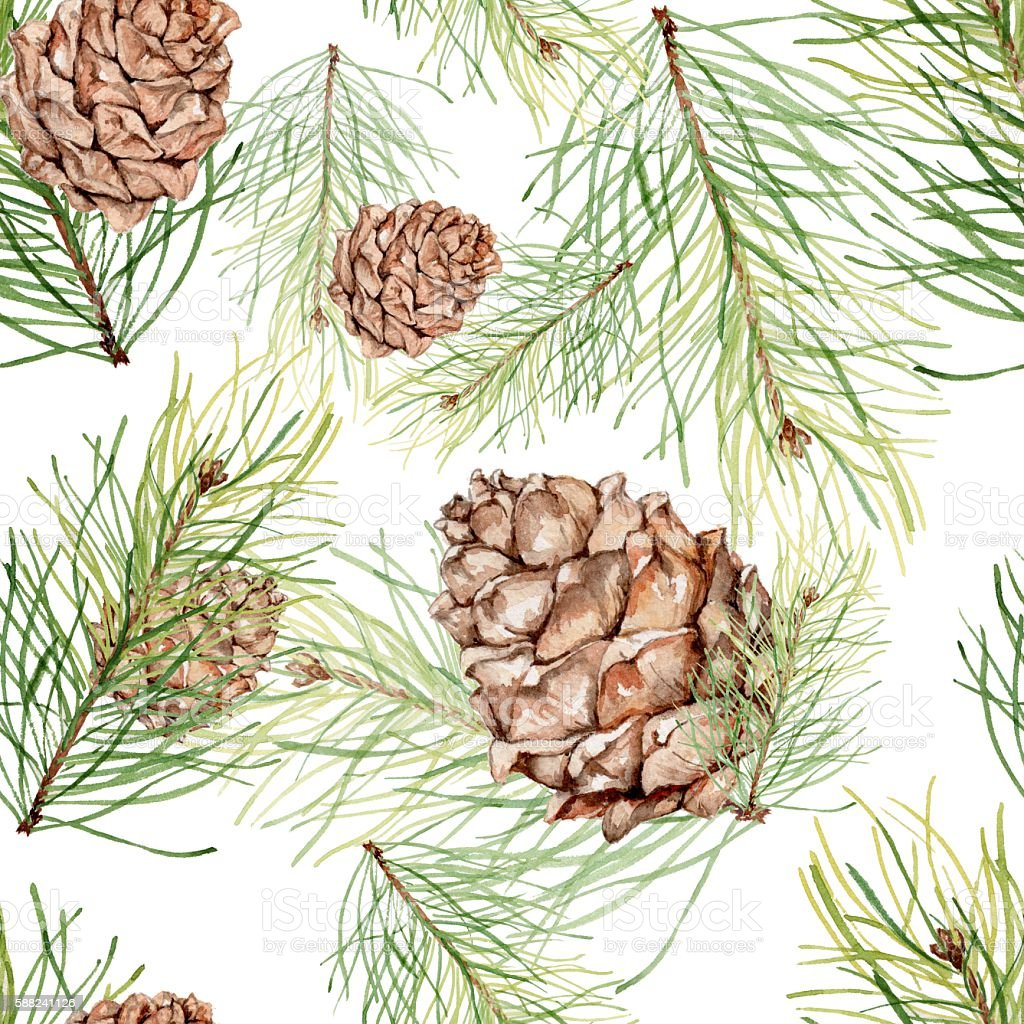 Seamless pattern with pine cones and pine branches. vector art illustration