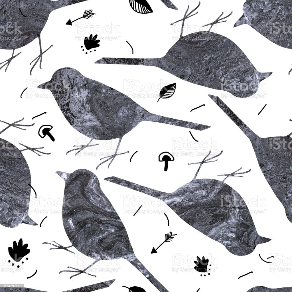 Seamless pattern with pretty dirty textured birds and hand drawn botanical elements. Monochrome. vector art illustration