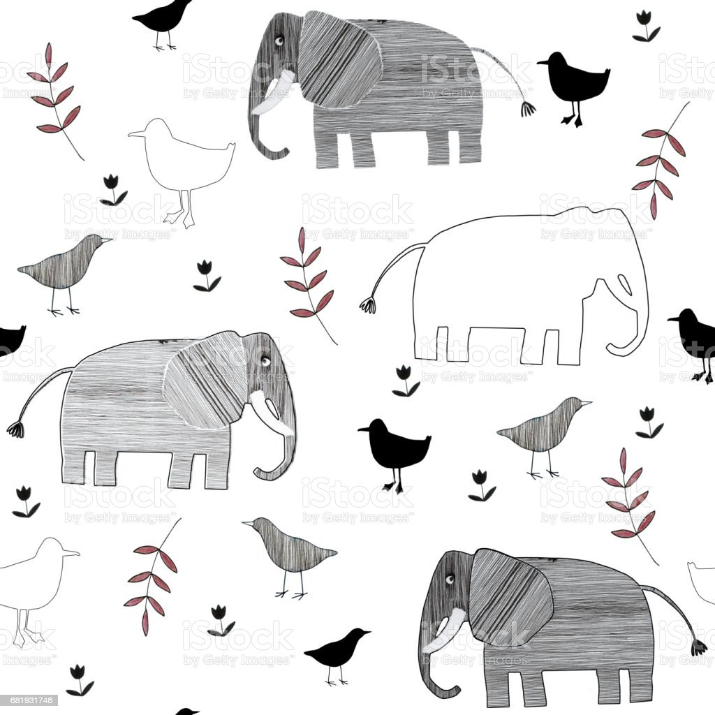 Seamless pattern with striped elephants, birds and floral elements. vector art illustration