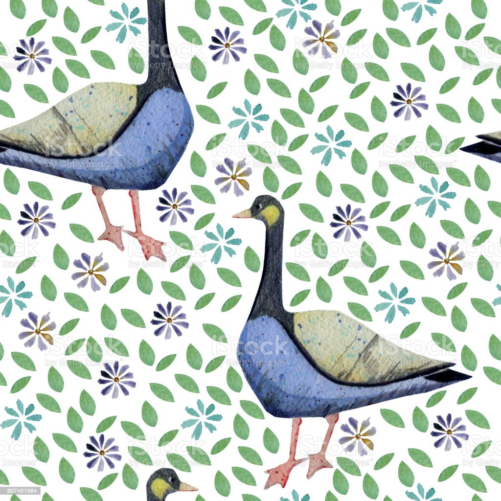 Seamless pattern with stylizwd Canadian goose, leaves and flowers. vector art illustration