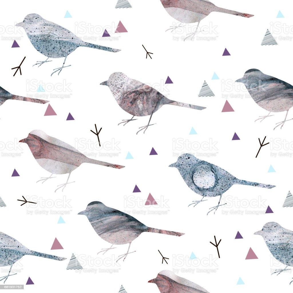 Seamless pattern with textured silhouettes of birds. vector art illustration