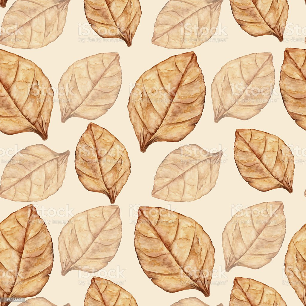 Seamless pattern with tobacco leaf vector art illustration