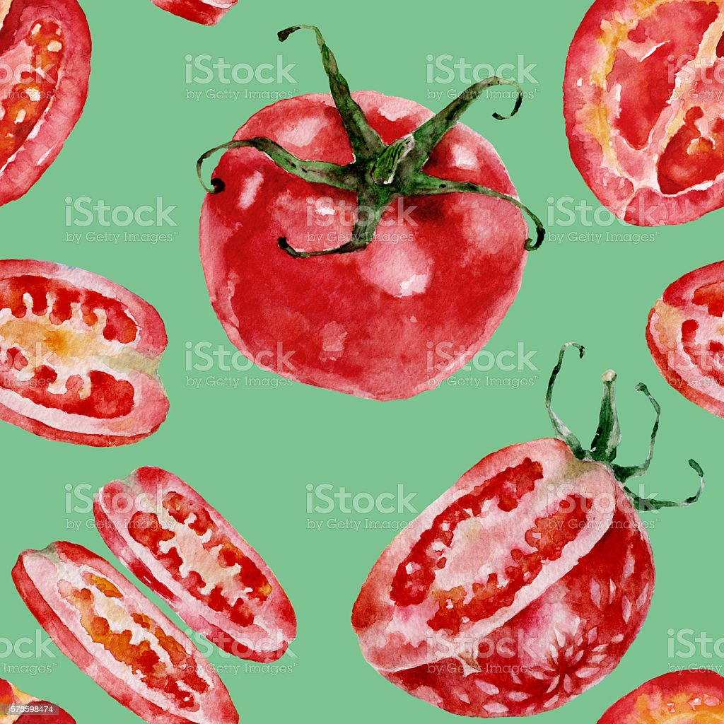 Seamless pattern with tomatoes. Watercolor illustration. vector art illustration