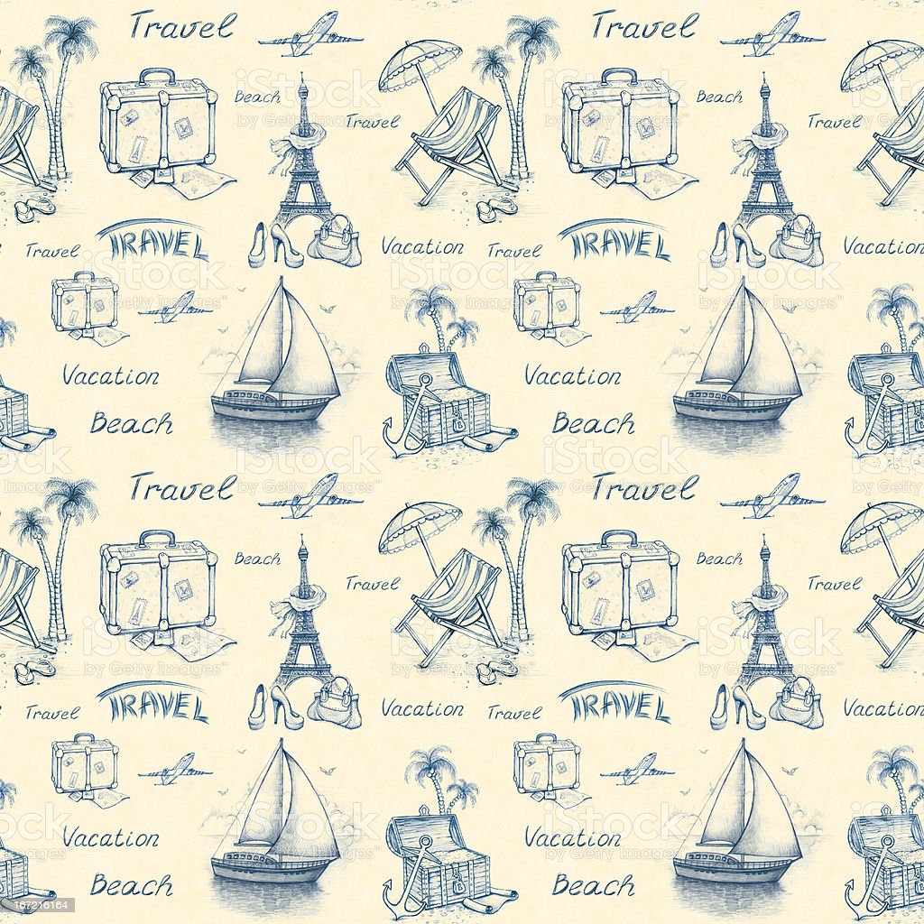 Seamless pattern with travel illustrations royalty-free stock vector art